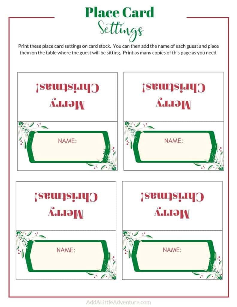 Christmas Place cards - design 1