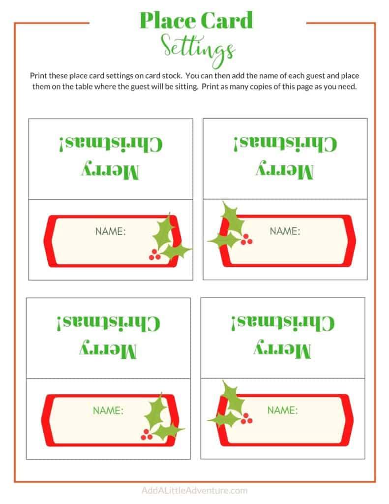 Christmas Place Cards - Design 2