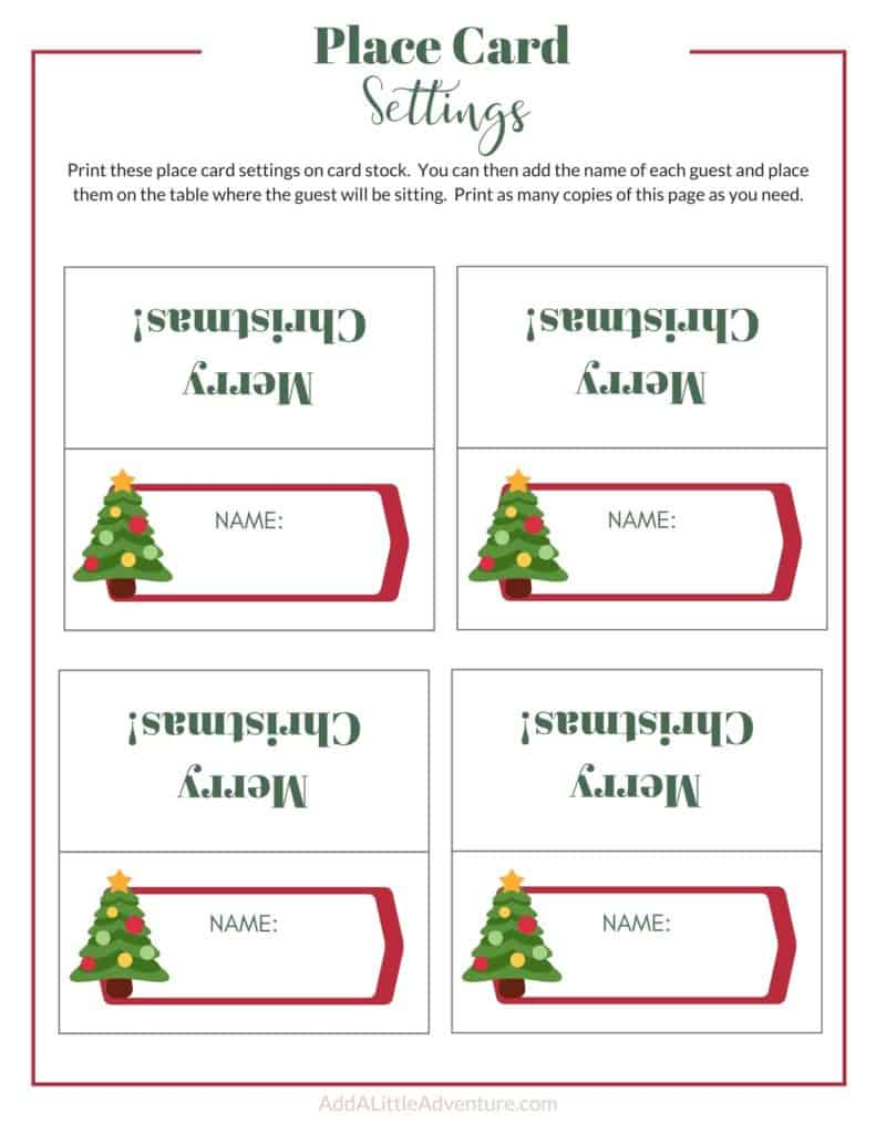 Christmas Place Cards Design 3