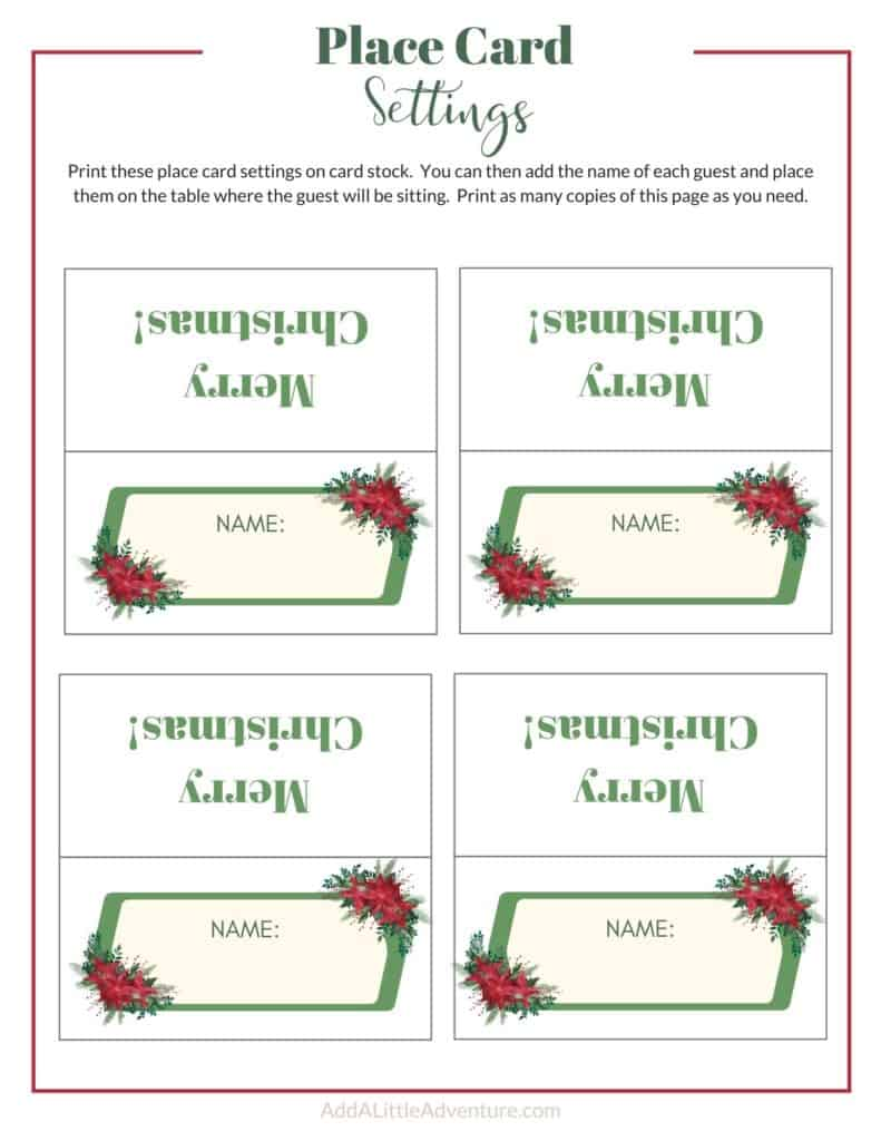 Christmas Place Cards - Design 4