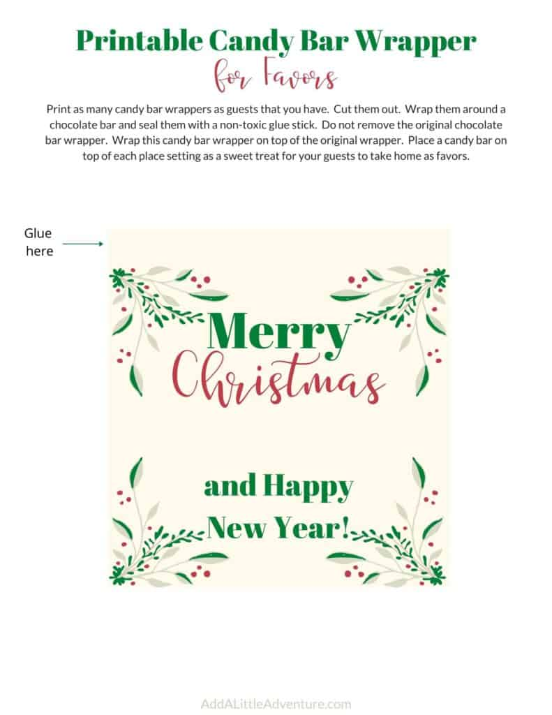 Christmas Candy Bar Wrappers Free Printables