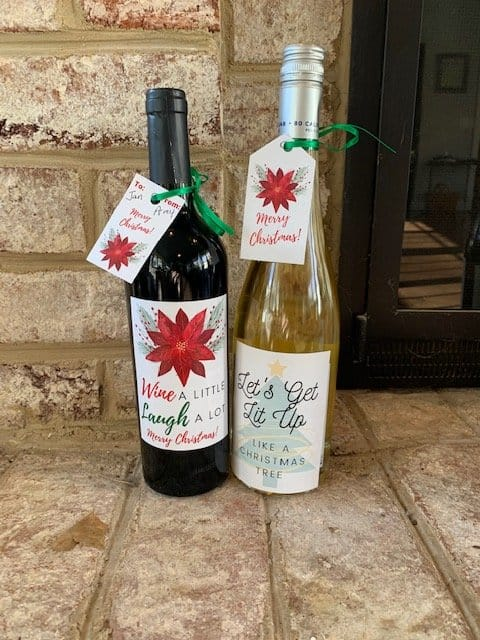 wine with gift tags