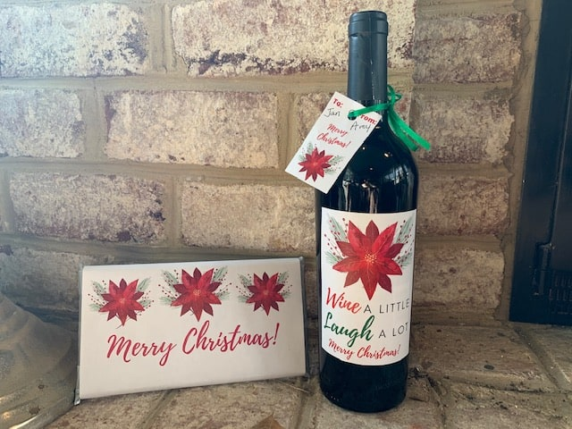 Christmas wine bottle labels and matching candy bar wrapper