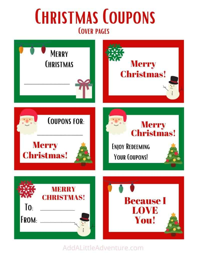 Christmas coupon book cover pages