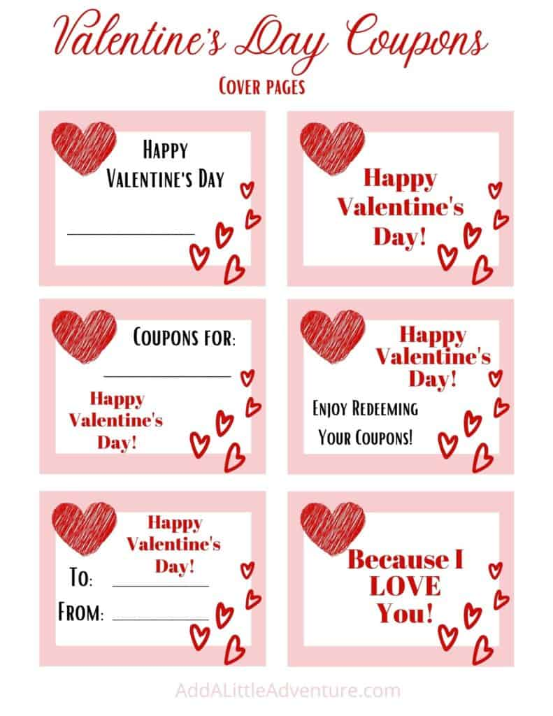 Valentine's Day Coupon Book Cover Pages
