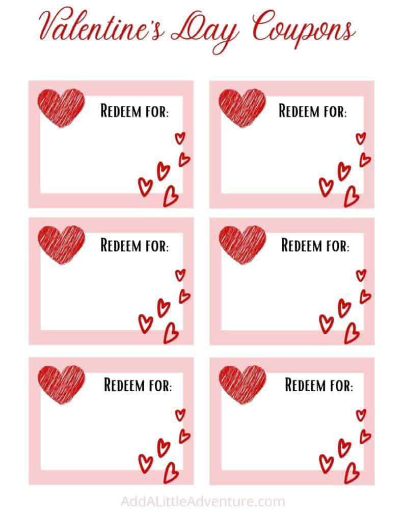Blank Valentine's Day Coupons Template
