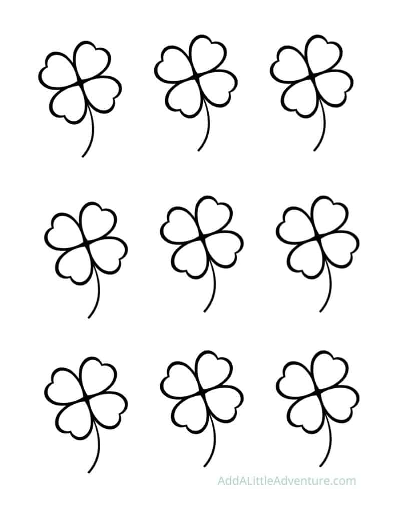 Small Four-Leaf Clover Outlines