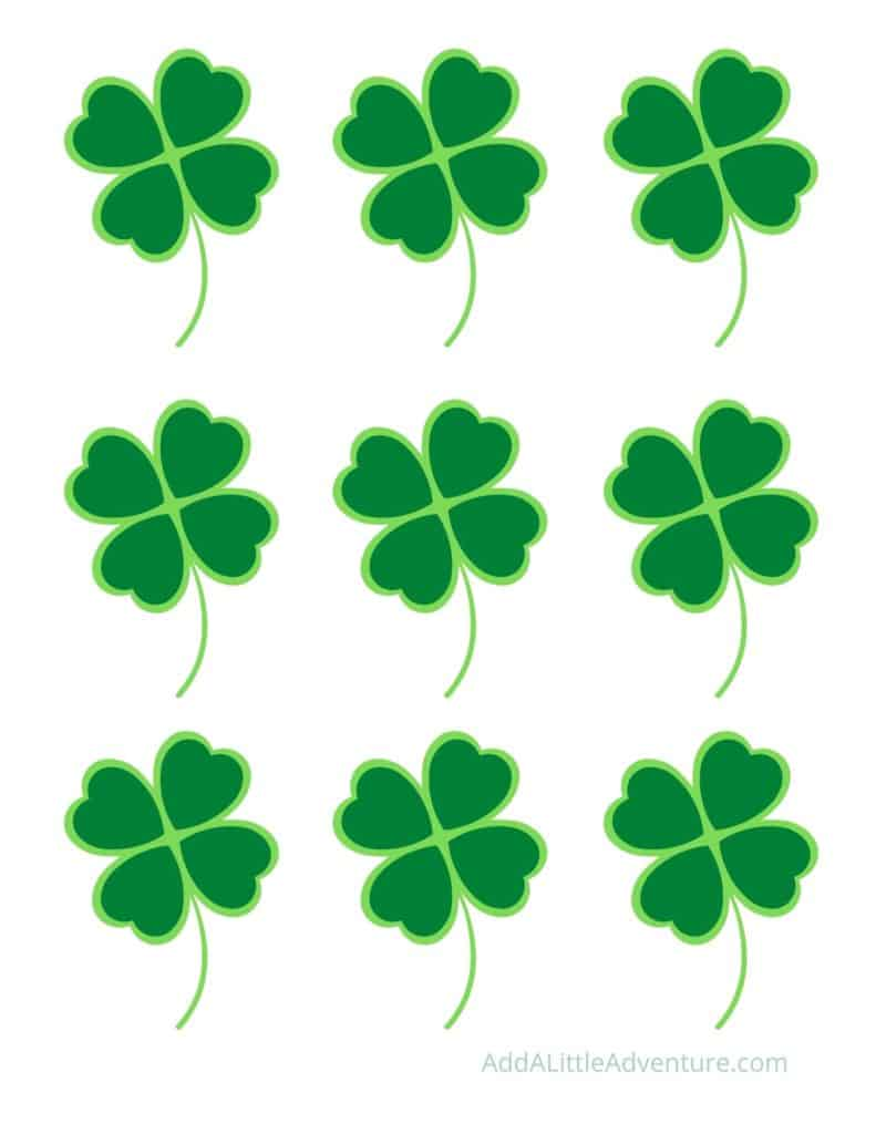 Small Printable Green Four-Leaf Clovers