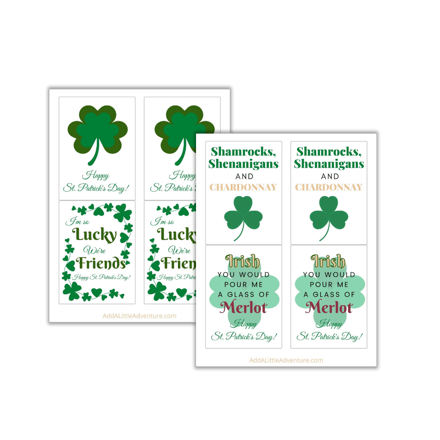 St. Patrick's Day Wine Labels