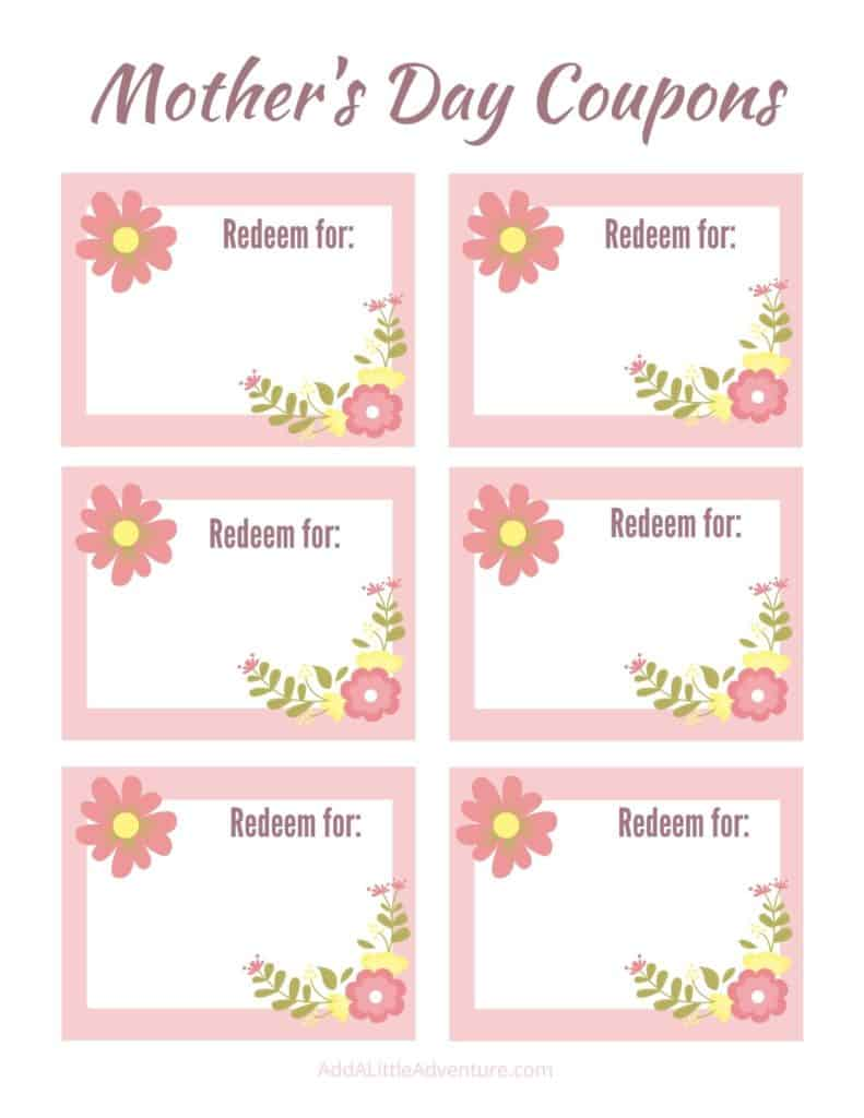 Mother's Day Blank Coupon template