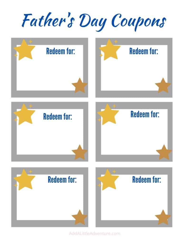 Father's Day Blank Coupon Template