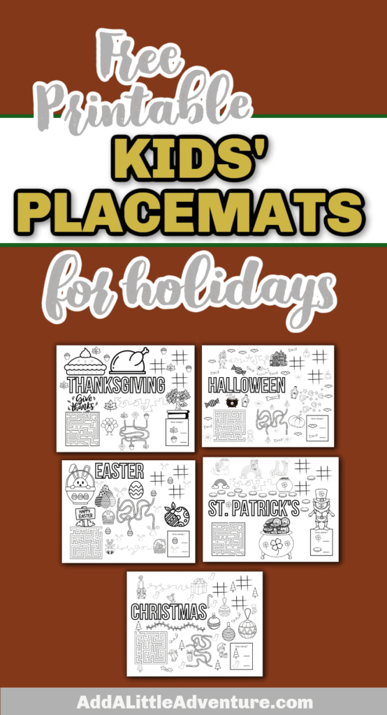 Free Printable Kids' Placemats for Holidays