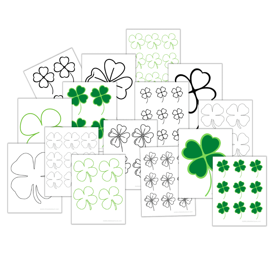 Four-Leaf Clover Outlines and Templates Mockup